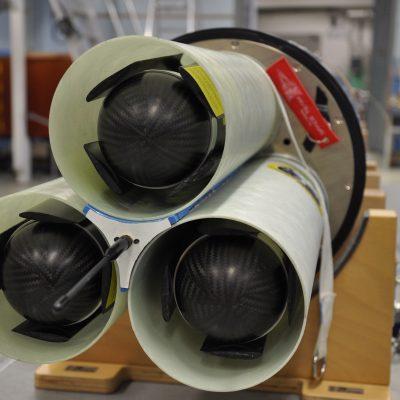 Die Messgeräte mit eingeklappten Flügeln, eingebaut in den Auswurfmechanismus (c) Project Daedalus